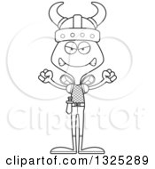Lineart Clipart Of A Cartoon Black And White Mad Bee Viking Royalty Free Outline Vector Illustration
