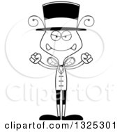 Lineart Clipart Of A Cartoon Black And White Mad Bee Circus Ringmaster Royalty Free Outline Vector Illustration