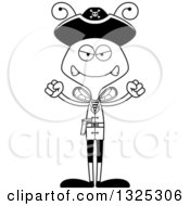 Lineart Clipart Of A Cartoon Black And White Mad Bee Pirate Royalty Free Outline Vector Illustration