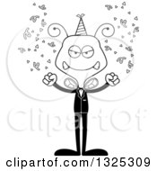 Lineart Clipart Of A Cartoon Black And White Mad New Year Party Bee Royalty Free Outline Vector Illustration