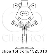 Lineart Clipart Of A Cartoon Black And White Mad Irish St Patricks Day Bee Royalty Free Outline Vector Illustration