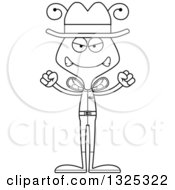 Lineart Clipart Of A Cartoon Black And White Mad Bee Cowboy Royalty Free Outline Vector Illustration
