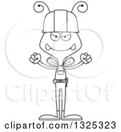 Lineart Clipart Of A Cartoon Black And White Mad Bee Construction Worker Royalty Free Outline Vector Illustration