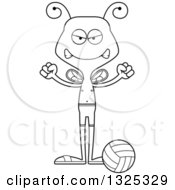 Lineart Clipart Of A Cartoon Black And White Mad Bee Beach Volleyball Player Royalty Free Outline Vector Illustration