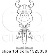 Lineart Clipart Of A Cartoon Black And White Happy Bee Viking Royalty Free Outline Vector Illustration