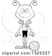 Lineart Clipart Of A Cartoon Black And White Happy Bee Volleyball Player Royalty Free Outline Vector Illustration