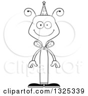 Lineart Clipart Of A Cartoon Black And White Happy Bee Wizard Royalty Free Outline Vector Illustration