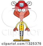 Clipart Of A Cartoon Happy Ant Firefighter Royalty Free Vector Illustration