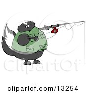 Skunk Wearing A Vest While Fishing Clipart Illustration
