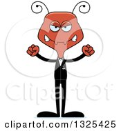 Clipart Of A Cartoon Mad Ant Wedding Groom Royalty Free Vector Illustration