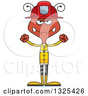 Clipart Of A Cartoon Mad Ant Firefighter Royalty Free Vector Illustration