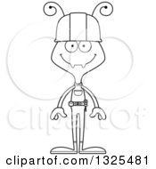 Cartoon Black And White Happy Ant Construction Worker