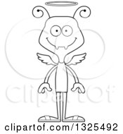 Lineart Clipart Of A Cartoon Black And White Happy Ant Angel Royalty Free Outline Vector Illustration
