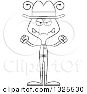 Lineart Clipart Of A Cartoon Black And White Mad Ant Cowboy Royalty Free Outline Vector Illustration