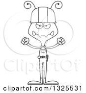 Cartoon Black And White Mad Ant Construction Worker