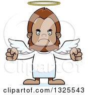 Clipart Of A Cartoon Mad Bigfoot Angel Royalty Free Vector Illustration