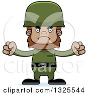 Clipart Of A Cartoon Mad Bigfoot Soldier Royalty Free Vector Illustration