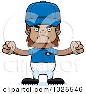 Clipart Of A Cartoon Mad Bigfoot Baseball Player Royalty Free Vector Illustration