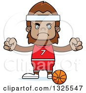 Clipart Of A Cartoon Mad Bigfoot Basketball Player Royalty Free Vector Illustration