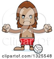 Clipart Of A Cartoon Mad Bigfoot Beach Volleyball Player Royalty Free Vector Illustration