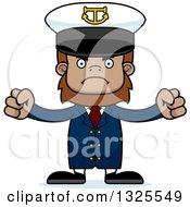 Clipart Of A Cartoon Mad Bigfoot Captain Royalty Free Vector Illustration