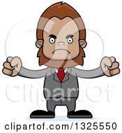 Clipart Of A Cartoon Mad Bigfoot Businessman Royalty Free Vector Illustration