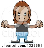 Clipart Of A Cartoon Mad Casual Bigfoot Royalty Free Vector Illustration