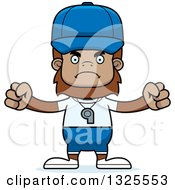 Clipart Of A Cartoon Mad Bigfoot Sports Coach Royalty Free Vector Illustration