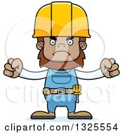 Clipart Of A Cartoon Mad Bigfoot Construction Worker Royalty Free Vector Illustration