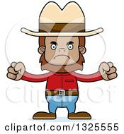 Clipart Of A Cartoon Mad Cowboy Bigfoot Royalty Free Vector Illustration