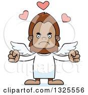 Clipart Of A Cartoon Mad Bigfoot Cupid Royalty Free Vector Illustration