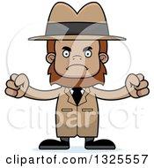 Clipart Of A Cartoon Mad Bigfoot Detective Royalty Free Vector Illustration
