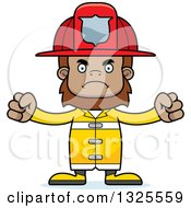 Clipart Of A Cartoon Mad Bigfoot Firefighter Royalty Free Vector Illustration