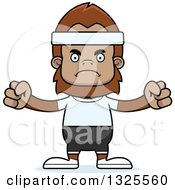 Clipart Of A Cartoon Mad Fitness Bigfoot Royalty Free Vector Illustration