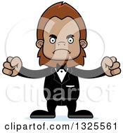 Clipart Of A Cartoon Mad Bigfoot Groom Royalty Free Vector Illustration