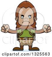 Clipart Of A Cartoon Mad Bigfoot Hiker Royalty Free Vector Illustration