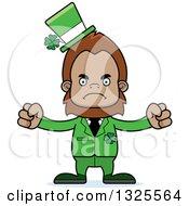 Clipart Of A Cartoon Mad St Patricks Day Bigfoot Royalty Free Vector Illustration