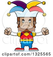 Clipart Of A Cartoon Mad Bigfoot Jester Royalty Free Vector Illustration