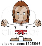 Clipart Of A Cartoon Mad Karate Bigfoot Royalty Free Vector Illustration
