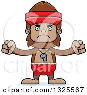 Clipart Of A Cartoon Mad Bigfoot Lifeguard Royalty Free Vector Illustration