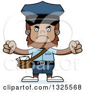 Clipart Of A Cartoon Mad Bigfoot Mailman Royalty Free Vector Illustration