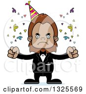 Clipart Of A Cartoon Mad Party Bigfoot Royalty Free Vector Illustration