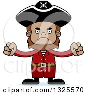 Clipart Of A Cartoon Mad Bigfoot Pirate Royalty Free Vector Illustration
