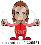 Clipart Of A Cartoon Mad Bigfoot In Pajamas Royalty Free Vector Illustration