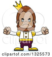 Clipart Of A Cartoon Mad Bigfoot Prince Royalty Free Vector Illustration