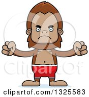 Clipart Of A Cartoon Mad Bigfoot Swimmer Royalty Free Vector Illustration
