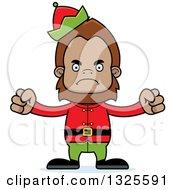 Clipart Of A Cartoon Mad Christmas Elf Bigfoot Royalty Free Vector Illustration
