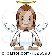 Clipart Of A Cartoon Happy Bigfoot Angel Royalty Free Vector Illustration