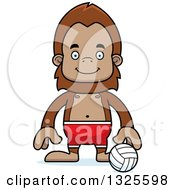 Clipart Of A Cartoon Happy Bigfoot Beach Volleyball Player Royalty Free Vector Illustration