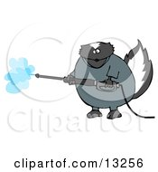 Skunk In Coveralls Using A Pressure Washer Clipart Illustration by Dennis Cox